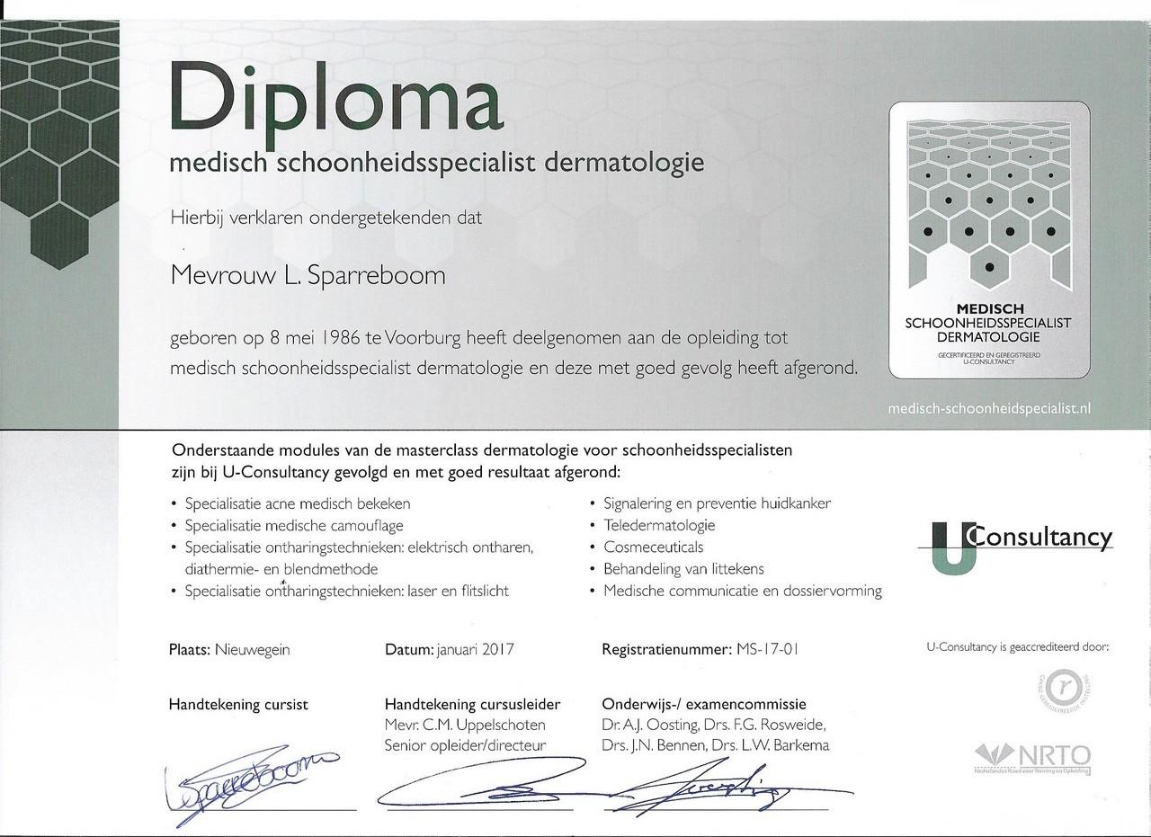 medische schoonheidsspecialiste diploma